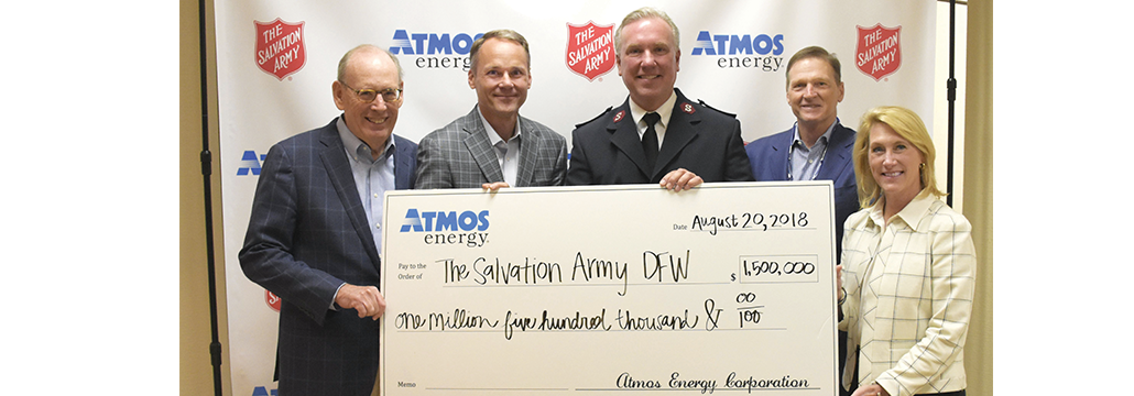Atmos Energy joined the The Salvation Army's efforts to enhance community welfare by presenting a $1.5 million donation to leaders of the Salvation Army DFW Metroplex Command.