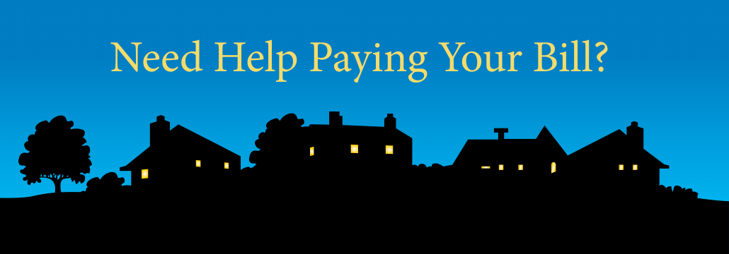 """Cartoon graphic of neighborhood with the caption """"Need Help Paying Your Bill?"""""""