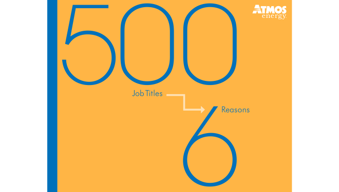 """Yellow and Blue image of a brochure on the careers page titled """"500 Job Titles, 6 Reasons to Work Here"""""""