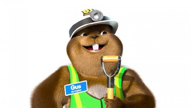 Gus the gopher reminds you to call 811 before you dig