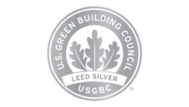"""Seal that designates the Charles K. Vaughan Center as a """"LEED"""" silver building"""