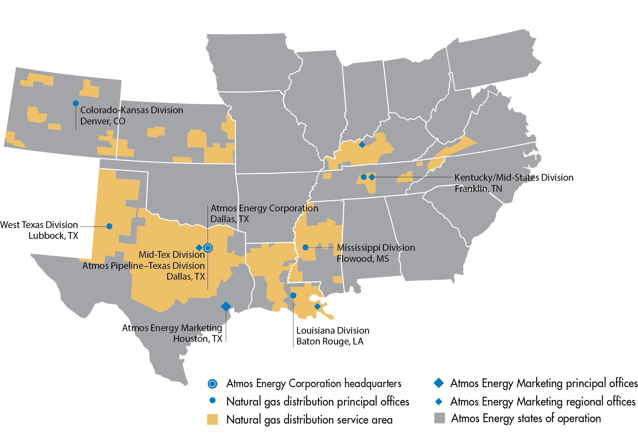 Atmos Energy's Area of Operations Map